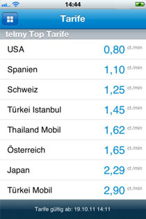 iPhone App Tarifbildschirm